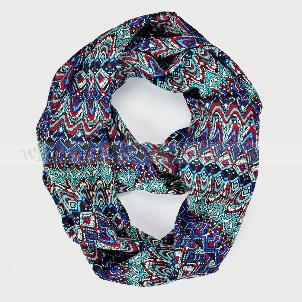 Primary image for Vintage Pattern Print Circle Loop Infinity Scarf Black Multi Color Smooth Soft