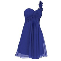 Blevla Short Chiffon One Shoulder Flowers Bridesmaid Dress Homecoming Gown Ro... - $128.69