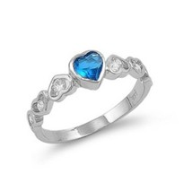 Sterling Silver ring size 10 CZ Infinity Round cut Heart Aquamarine New ... - $14.01