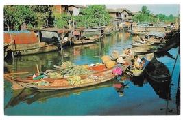 Bangkok Thailand The Floating Market Mahanak Boats Vintage 1967 Postcard - $5.69