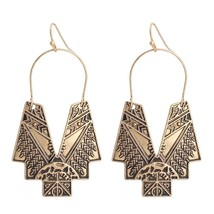 LGZH 2017 New Vintage Bohemia Gold color Geometry Drop Earrings For Wome... - $10.29