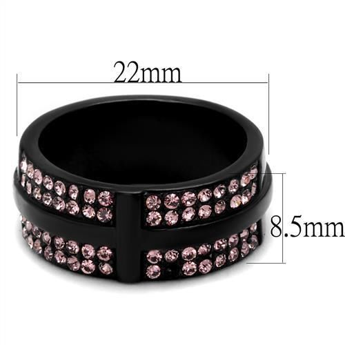 WOMEN'S BLACK STAINLESS STEEL BLACK CROSS OVER PINK CRYSTAL BAND RING SIZE 5 -10