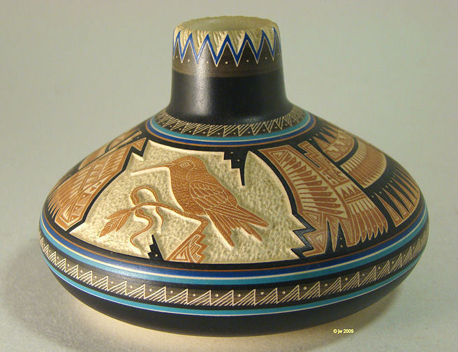 Navajo Hummingbird Carved Pot Signed William Yazzie
