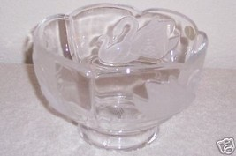 "Crystal 6"" Etched Bowl w Frosted Glass SWAN BIRD Design - $20.48"