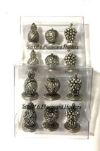 Vtg 2 Box Lot of Metal Fruit Place Holders Pineapple Strawberry Grapes 1... - $32.44