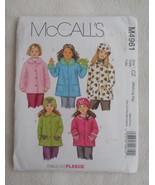 McCall's 4961 Fabulous Fleece Coats Hats pattern, Jackets, Girls Med-Lrg... - $7.00