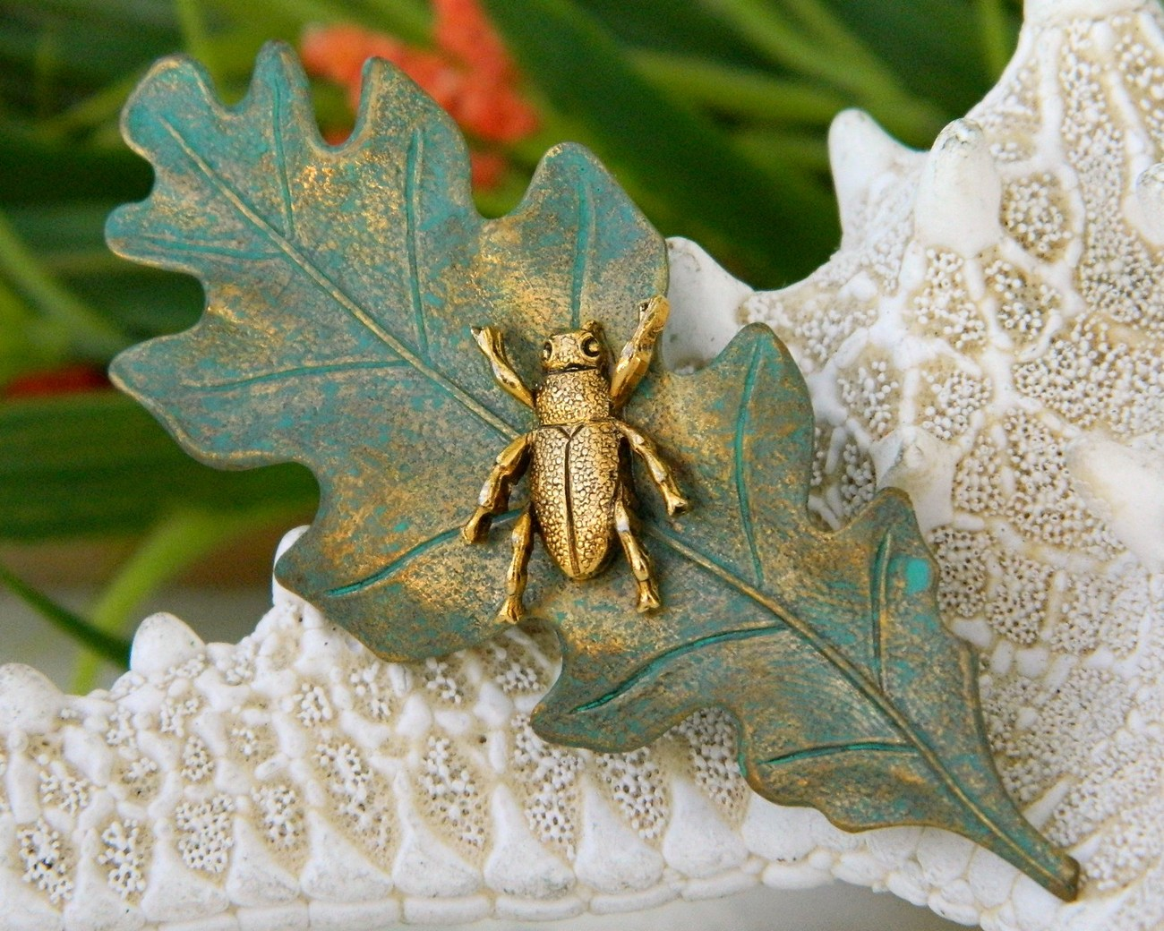 Beetle insect bug brooch pin oak leaf green gold figural