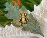 Beetle insect bug brooch pin oak leaf green gold figural thumb155 crop