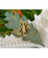 Insect Bug Beetle Brooch Pin Oak Leaf Green Gold Figural - $14.95