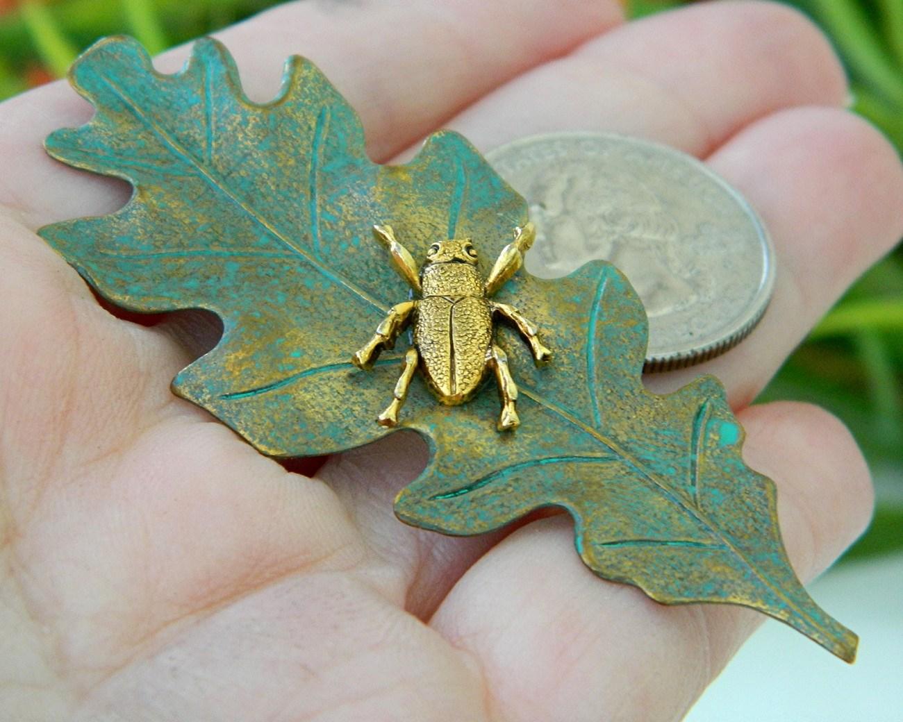 Insect Bug Beetle Brooch Pin Oak Leaf Green Gold Figural