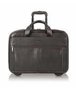 17 Inch Rolling Business Leather Case Wheeled Luggage Laptop Travel Dark... - $219.13