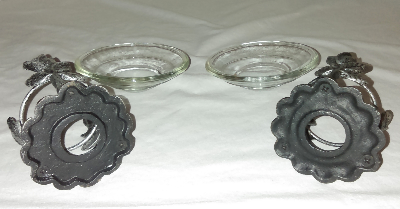 Aromatherapy Essential Oil Warmers w/Oil Glass Dishes/Metal Base - Set of 2
