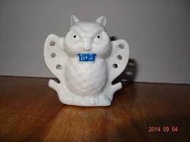Vintage White owl Ceramic earring holder - $19.78