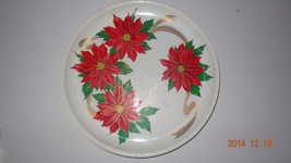 Vintage Poinsettia Christmas thick Plastic Round Serving Cookie Tray - $21.04