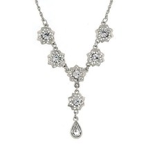 1928 Jewelry Zarina Flower Crystal Pear Drop Ne... - $28.59