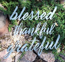 grateful thankful blessed Metal Wall Art Words Polished Steel - $49.49