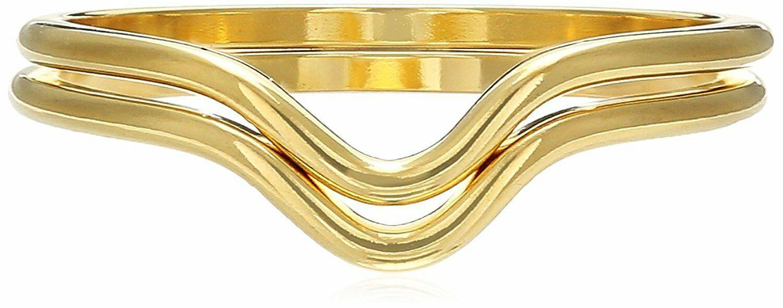 USA Fatto ECRU metal Placcato Oro 2 Pezzi A V Accatastabile Anello Set Misura 6