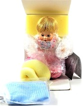1996 Danbury MInt Fine Porcelain Collector Doll Blonde Girl with Baby Blanket - $22.76