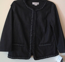NEW!  SAG HARBOR STRETCH DARK NAVY INDIGO DENIM JACKET~RUFFLED TRIM~SIZE... - $12.63