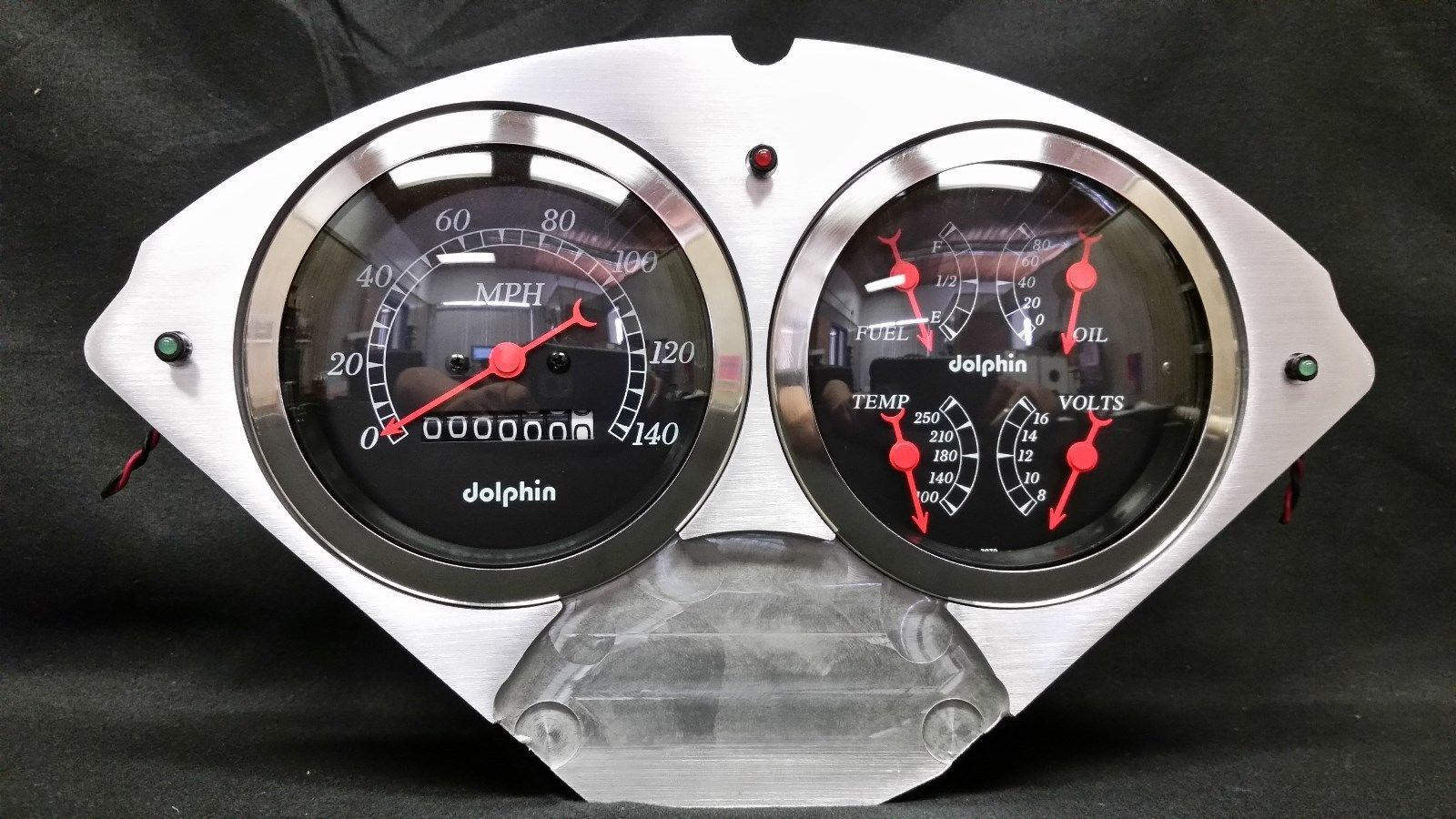 Car Gauges Set : Chevy car quad gauge set dash cluster black gauges