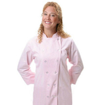 12 Button Front Female Fitted Pastel Pink Uniform Chef Coat Jacket Mediu... - $35.61
