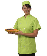 12 Button Front Female Fitted Lime Uniform S/S Chef Coat Jacket XL New - $35.61