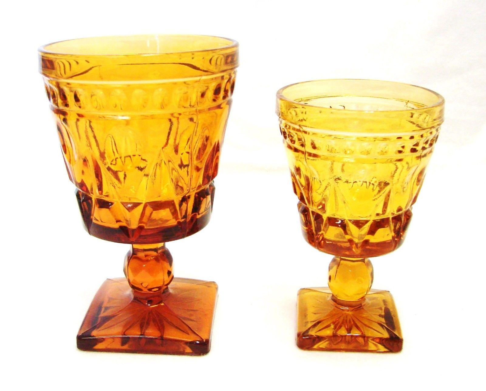 2 Vintage Indiana Park Lane Amber Footed Pedestal Water Wine Juice Glass - $33.92