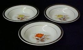 3 Limoges Vermillion Rose Triumph Fruit Berry Bowls Sebring Ohio Vintage - $24.47