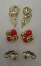 3 Vintage Lot Costume Pink Gold Rhinestone Bow Pearl Cluster Clip On Earrings - $28.77