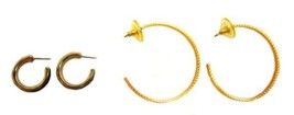 2 Pair Hoop Pierced Earrings Costume Fashion Gold Plate Slant Silver Navy Blue - $14.67