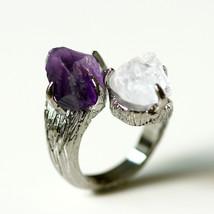A23,Amethyst,Moonstone,Stone ring,Ring,Adjustab... - $79.00