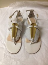 Women's White And Gold Leather Nine West Sandals Size 8.5 New - $29.69
