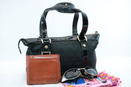 GUCCI Canvas Leather Wallet Tote Bag Sunglasses 3 Set Black Brown Auth s... - $120.00