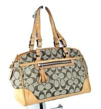 100% Auth COACH logo Brown Canvas fabric Leather duffel Hand bag  - $127.71