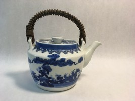 Antique Hand-Painted Japanese Blue Ceramic Tea Pot w Lid and Wicker Handle - $44.54