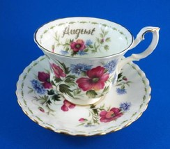 ROYAL ALBERT FLOWER OF THE MONTH AUGUST TEA CUP AND SAUCER - $49.49