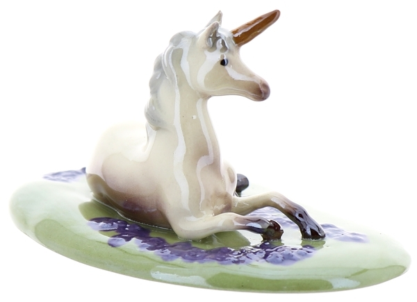 Hagen-Renaker Specialties Ceramic Figurine Unicorn Lying on Base