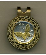 "Papa New Guinea 1 toea ""Butterfly"" 2-Toned Gold on Silver coin golf marker - $54.00"