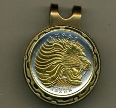 "Ethiopia 25 cent ""Lion"" 2-Toned Gold on Silver coin golf marker - $63.00"