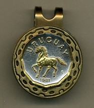 "Uruguay 10 centesimal ""Horse"" 2-Toned Gold on Silver coin golf marker - $55.00"