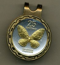 "Philippines 25 sentimos ""Butterfly"" 2-toned Gold on Silver coin golf ma... - $55.00"