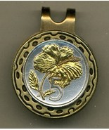 """Cook Islands 5 cent """"Hibiscus"""" 2-Toned Gold on Silver coin golf marker - $56.00"""