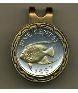 "Bermuda 5 cent ""Angel fish"" 2-Toned Gold on Silver coin golf marker - $55.00"