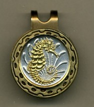 "Singapore 10 cent ""Sea Horse"" 2-Toned Gold on Silver coin golf marker - $62.00"