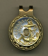 "Spanish 50 centimes ""Anchor & Ships Wheel"" Gold on Silver Coin Golf Marker - $67.00"