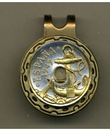 """Spanish 50 centimes """"Anchor & Ships Wheel"""" Gold on Silver Coin Golf Marker - $67.00"""