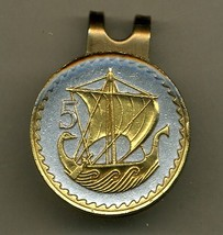 "Cyprus 5 Mils ""Viking Ship"" 2-Toned Gold on Silver Coin Golf Marker - $67.00"