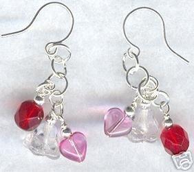 Sweetheart Flower Heart Pink Red Clear Dangle Earrings