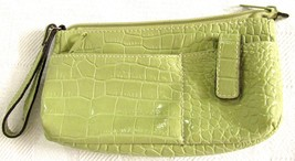 Women's Moc Croc Embossed Summer Green 100% PVC Wristlet/Wallet
