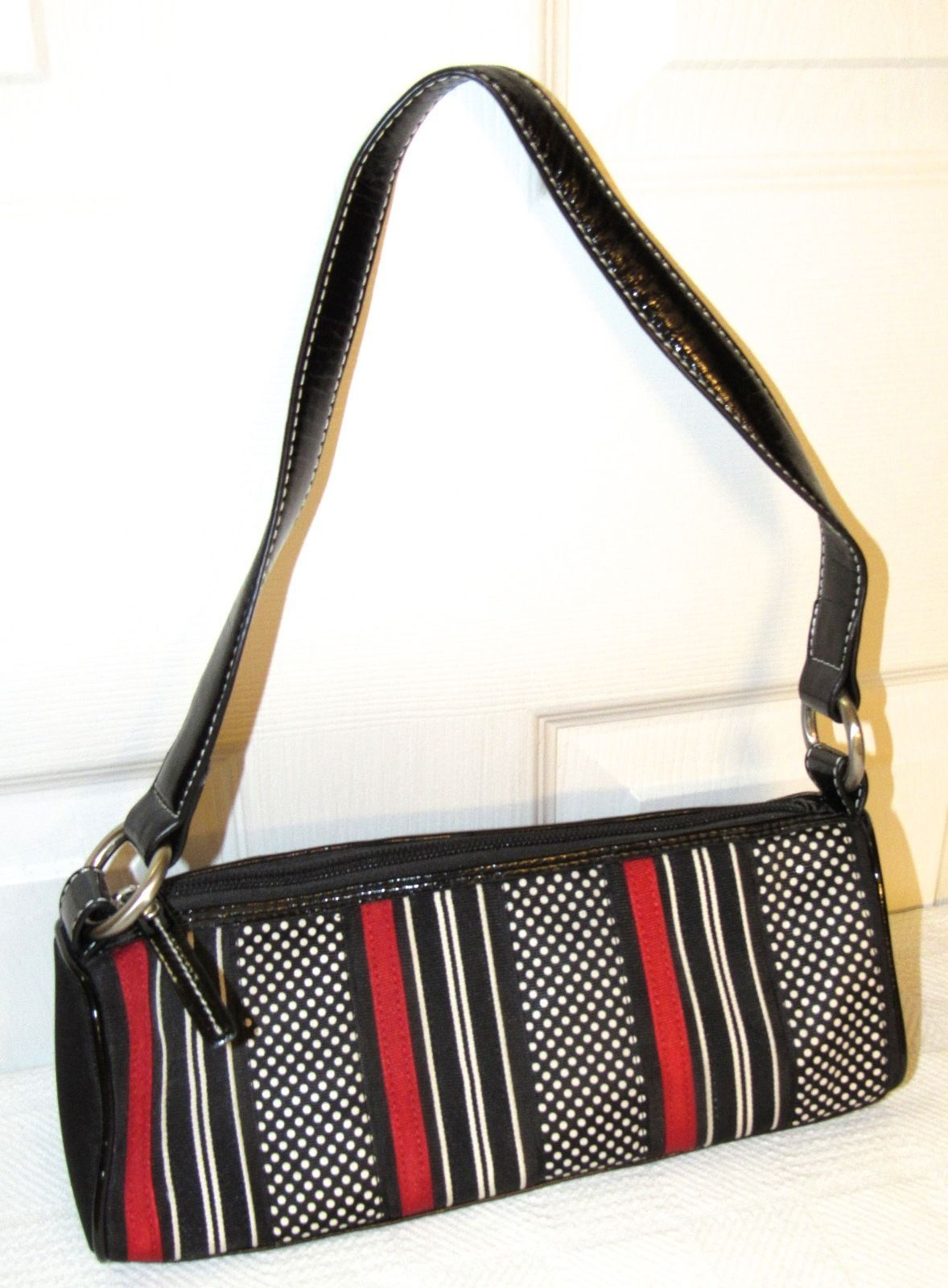 Talbots Black/Red/White Polka Dot Grosgrain Ribbon Baguette Leather/Canvas Bag